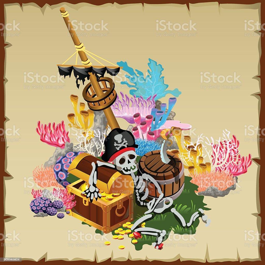 Pirate treasure, fragment ship and skeleton guard vector art illustration