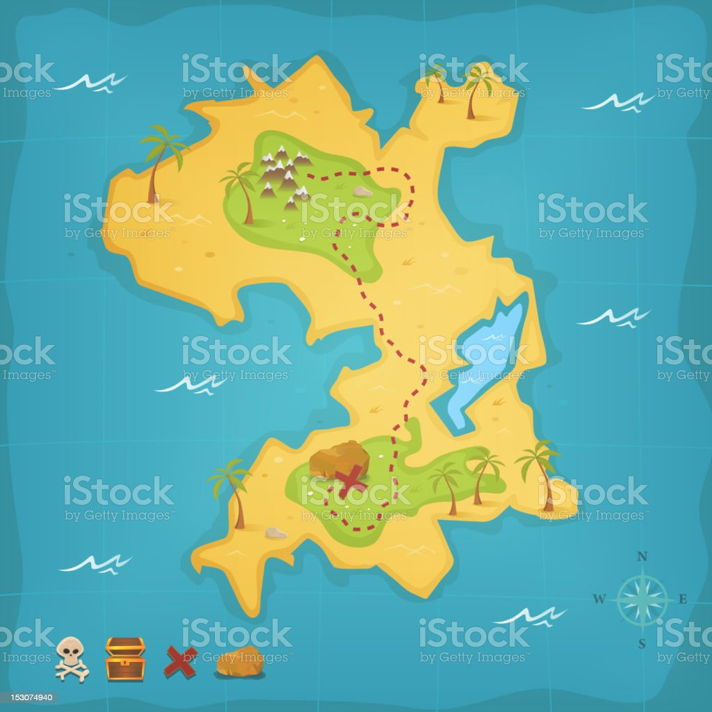 Pirate treasure island map showing treasure vector art illustration