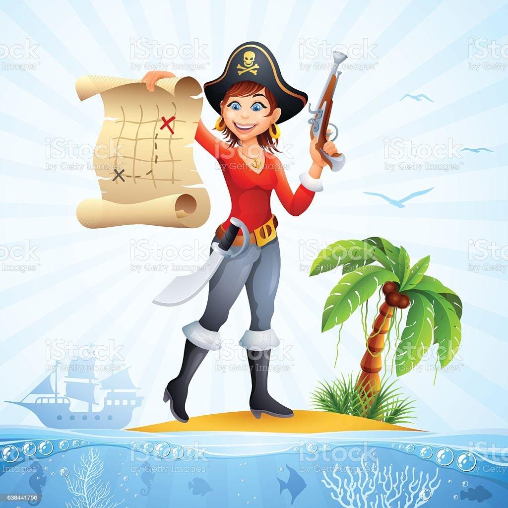 Pirate - Treasure Map vector art illustration