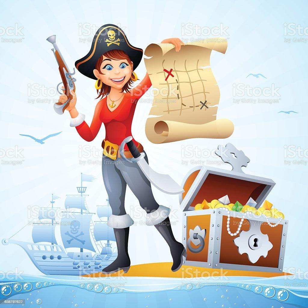 Pirate Treasure vector art illustration