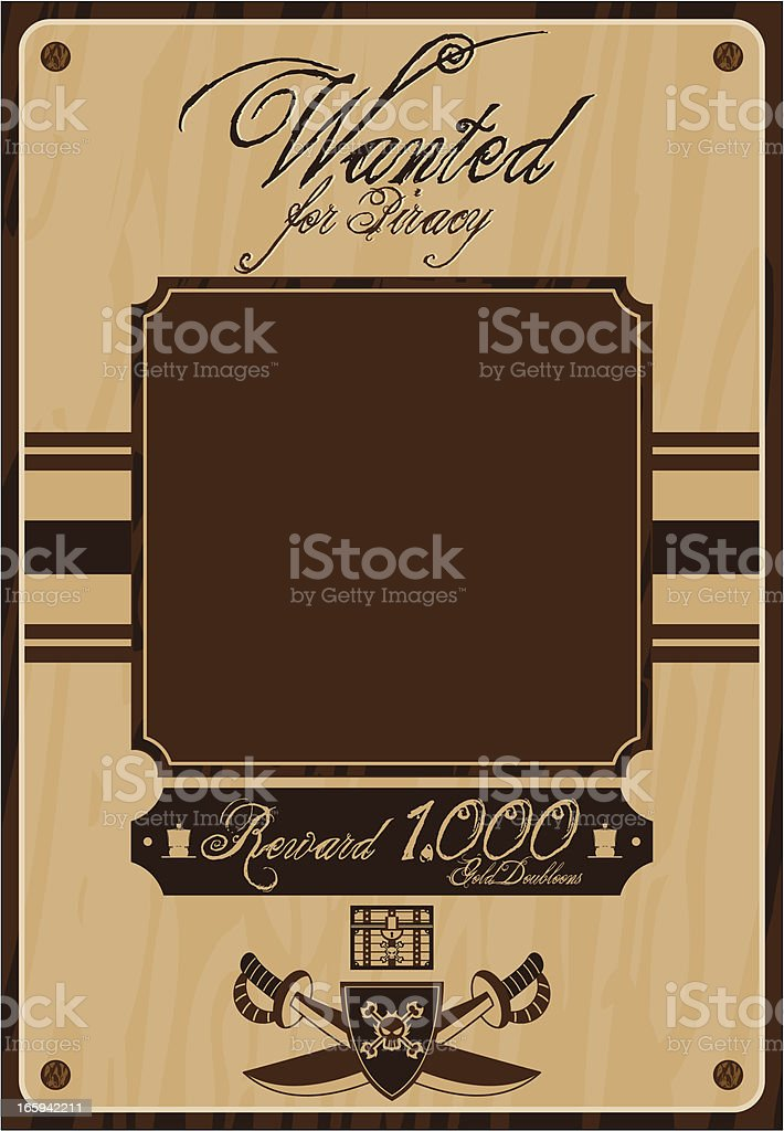 Pirate Wanted Poster royalty-free stock vector art