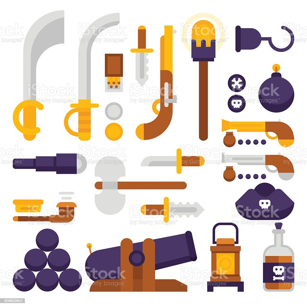 Pirate weapons vector big set in flat style vector art illustration