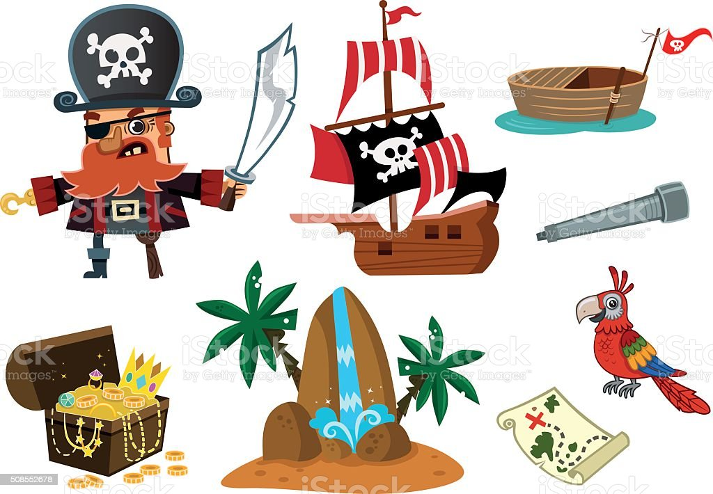 Pirate with his stuffs vector art illustration