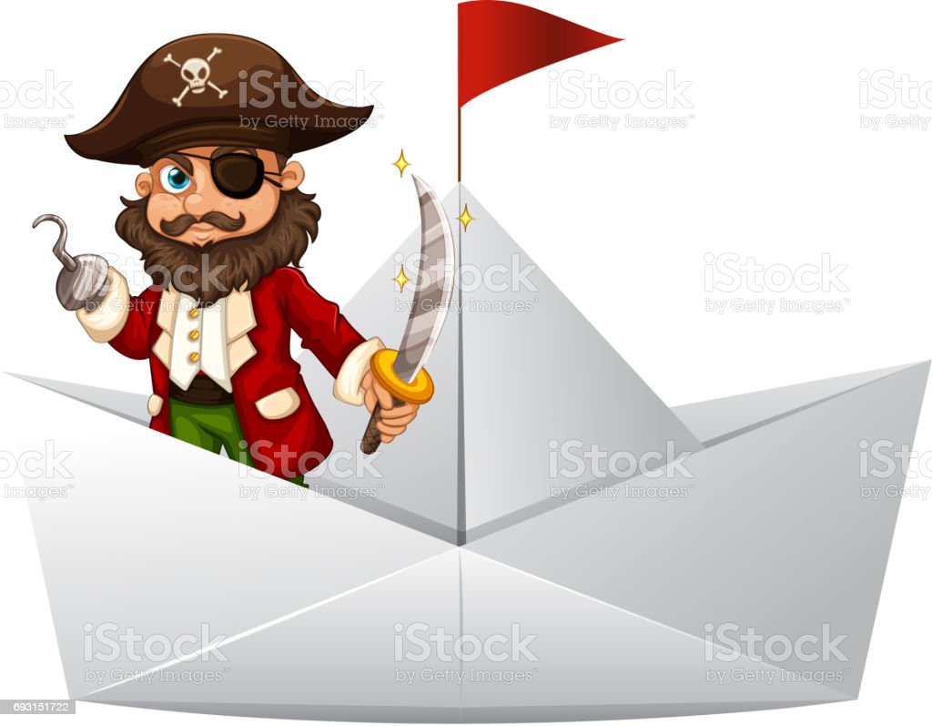 Pirate with sword standing on paper boat vector art illustration