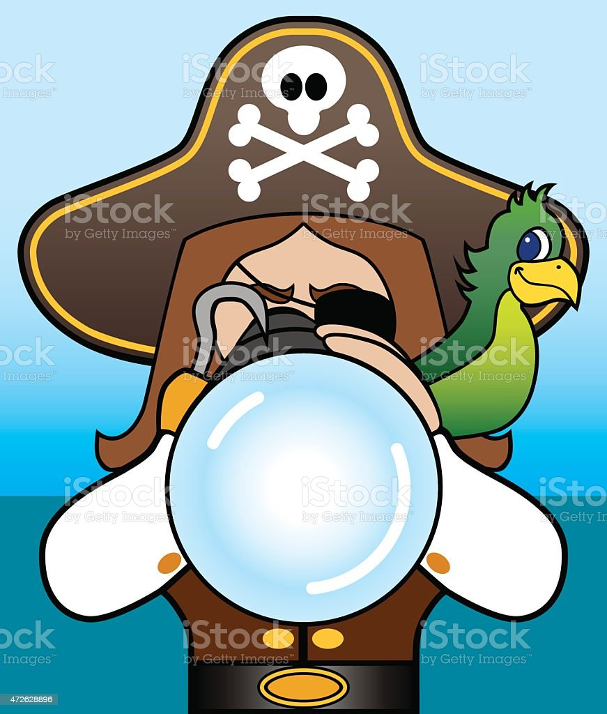 Pirate with Telescope vector art illustration