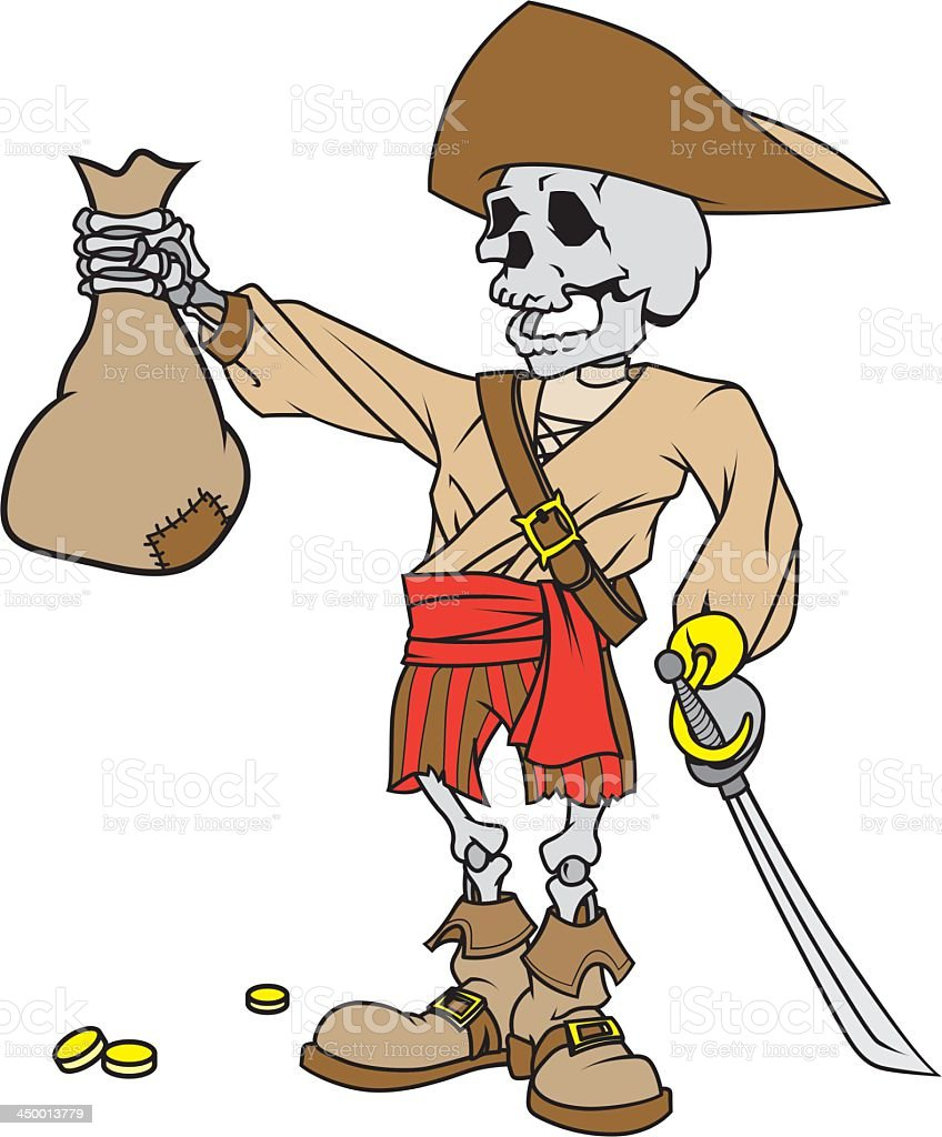 Pirate With Treasure royalty-free stock vector art