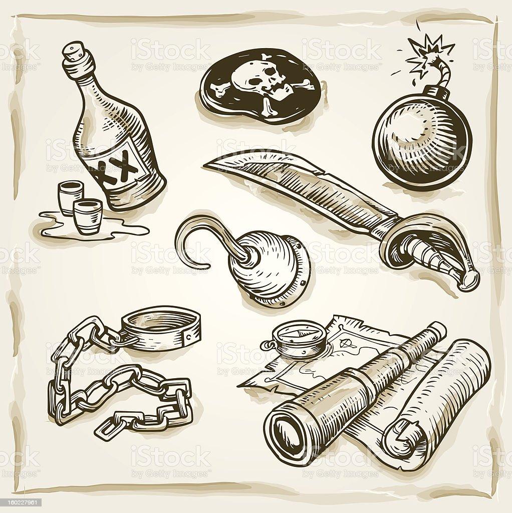Pirates accessory set royalty-free stock vector art