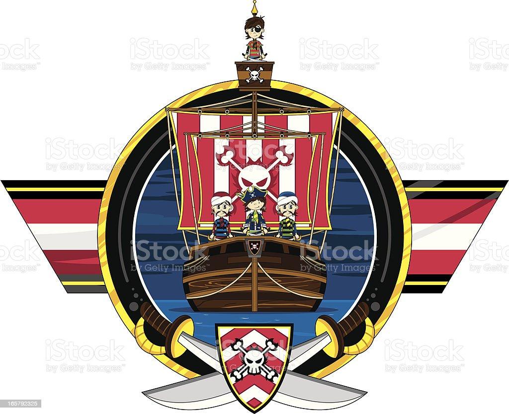 Pirates and Ship Badge royalty-free stock vector art