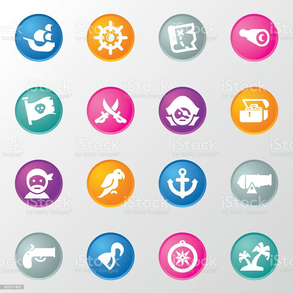 Pirates Circle Color Icons vector art illustration