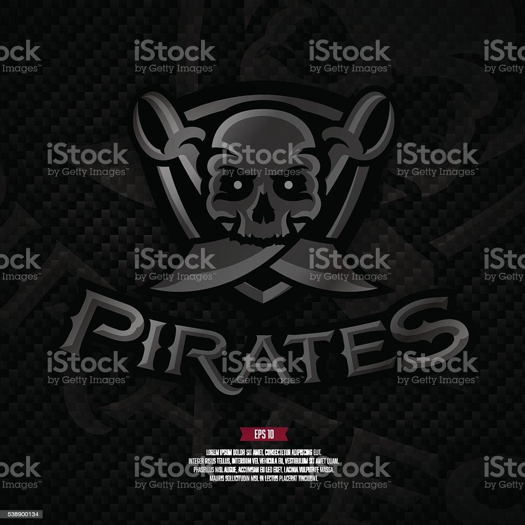 Pirates football logo on carbon background. Modern professional logo. vector art illustration