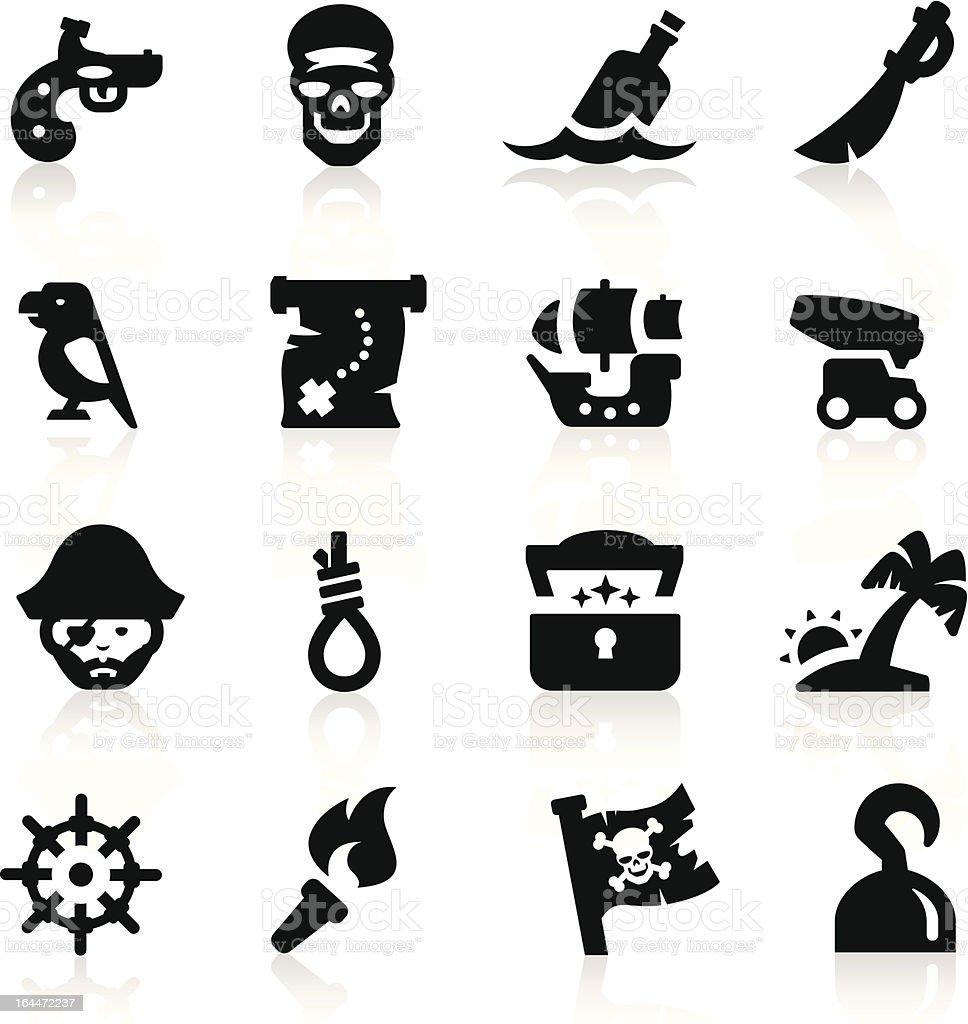 Pirates icons set Elegant series vector art illustration