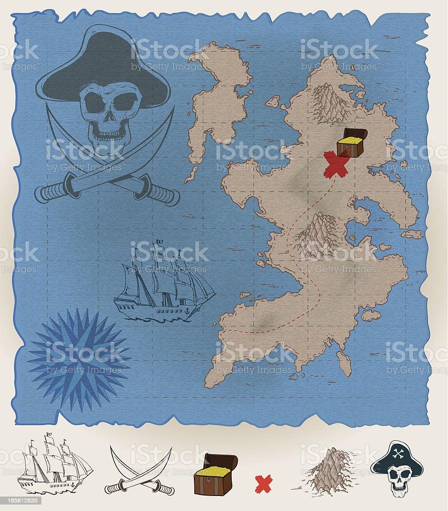 Pirates map royalty-free stock vector art