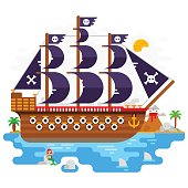 Pirate's ship in the sea flat design illustration.