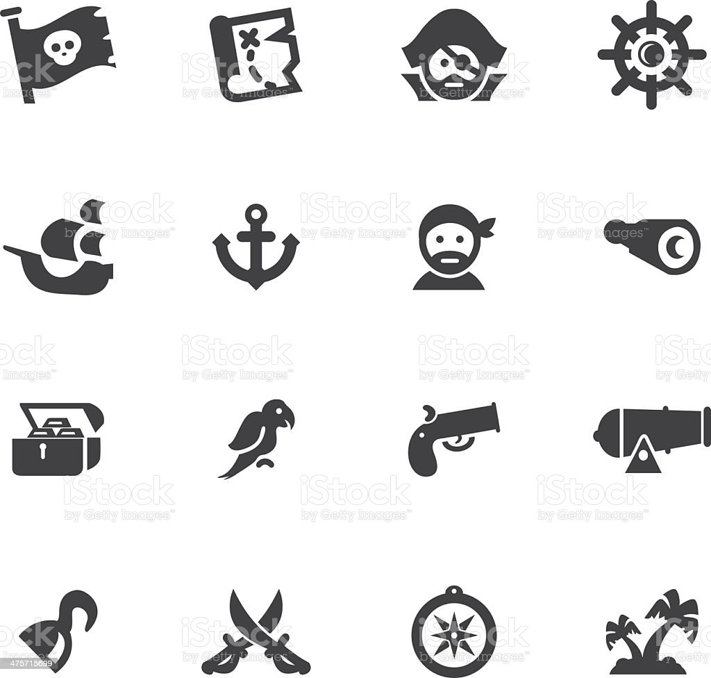 Pirates Silhouette icons set vector art illustration