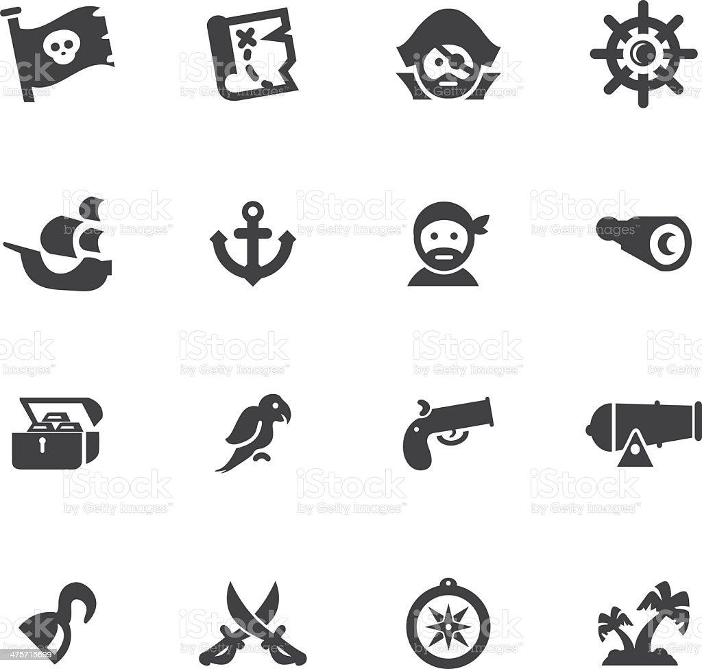 Pirates Silhouette icons set vector art illustration