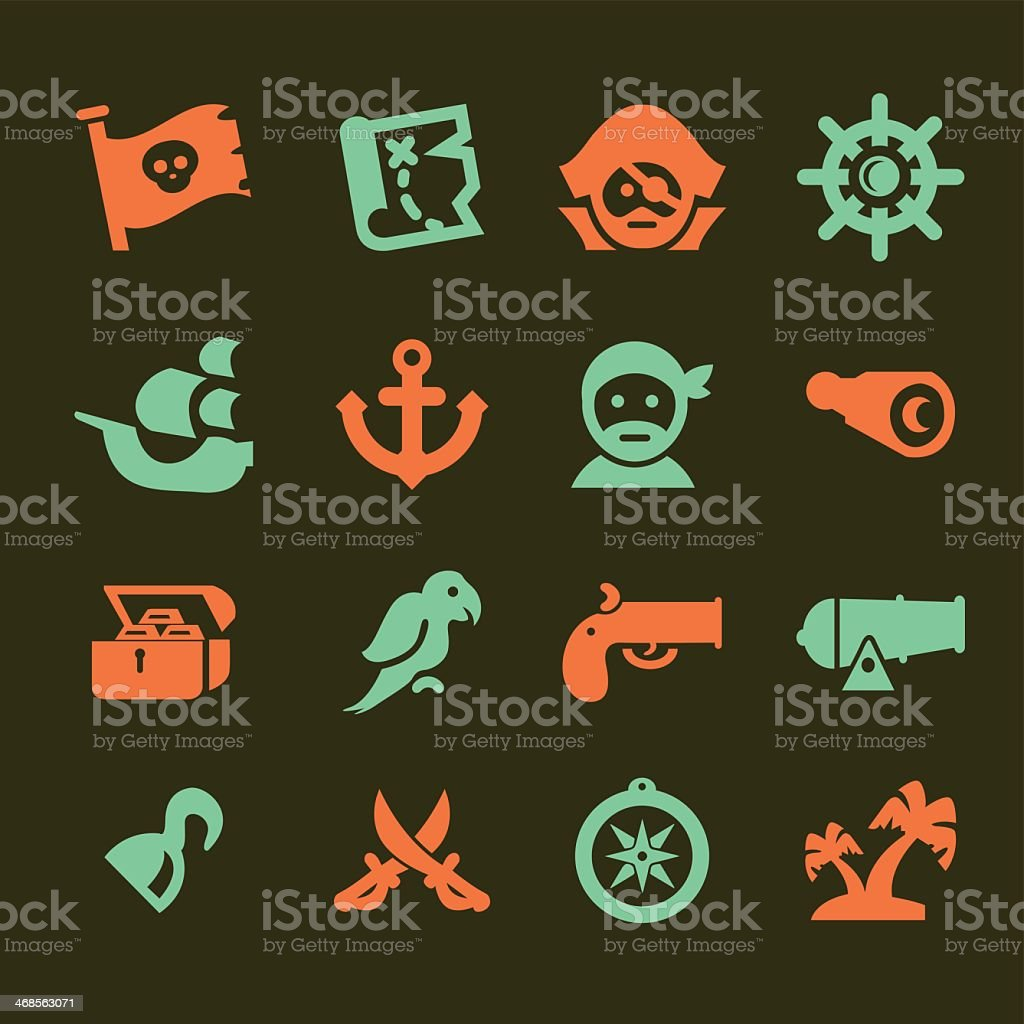 Pirates Silhouette Red and Green icons set vector art illustration