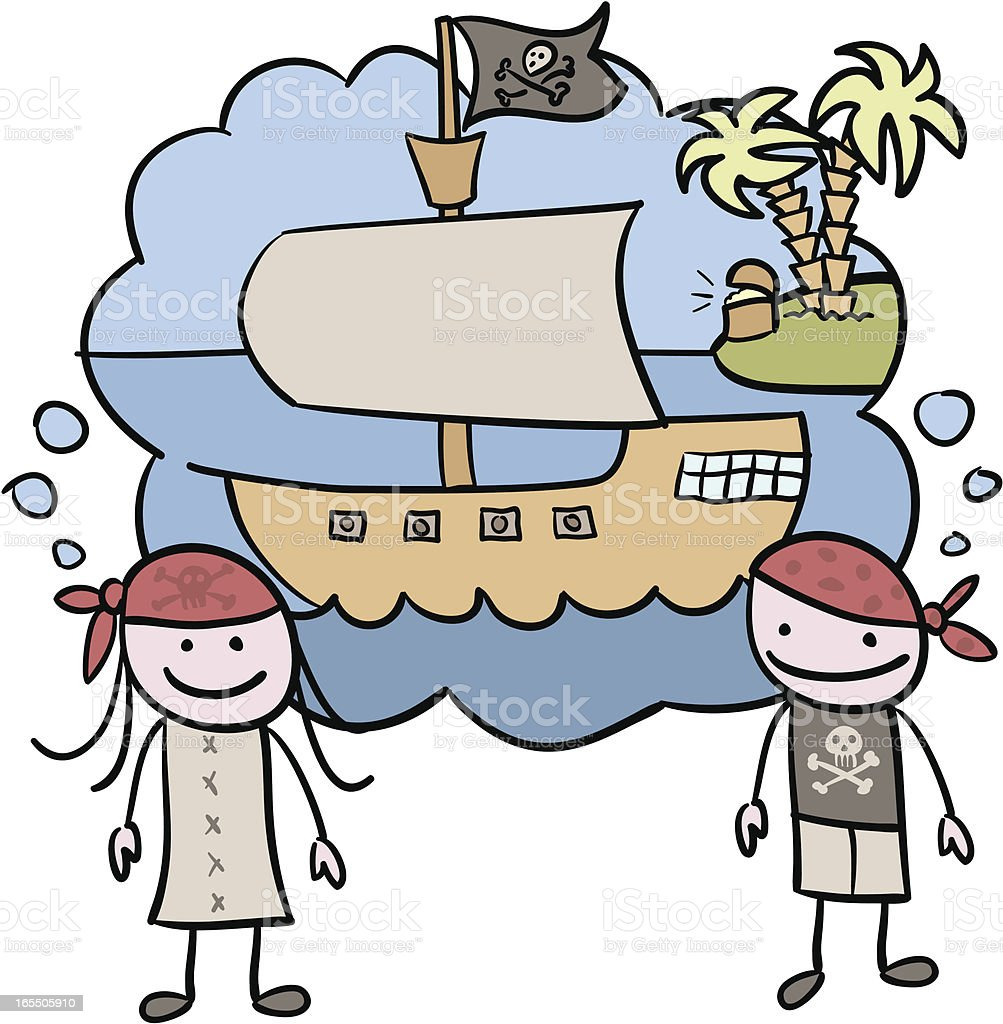 Pirates thinking vector art illustration