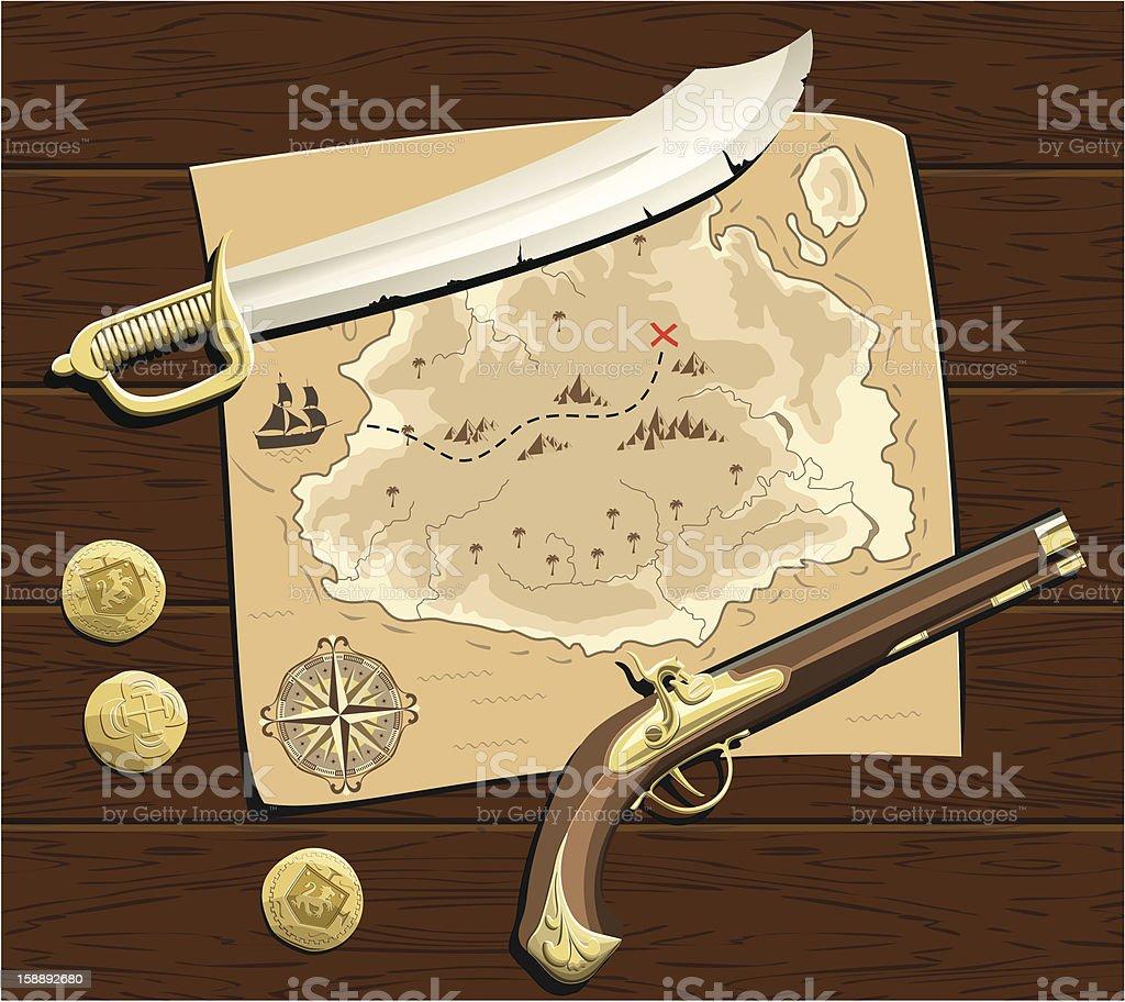 Pirates Treasure Map stock photo