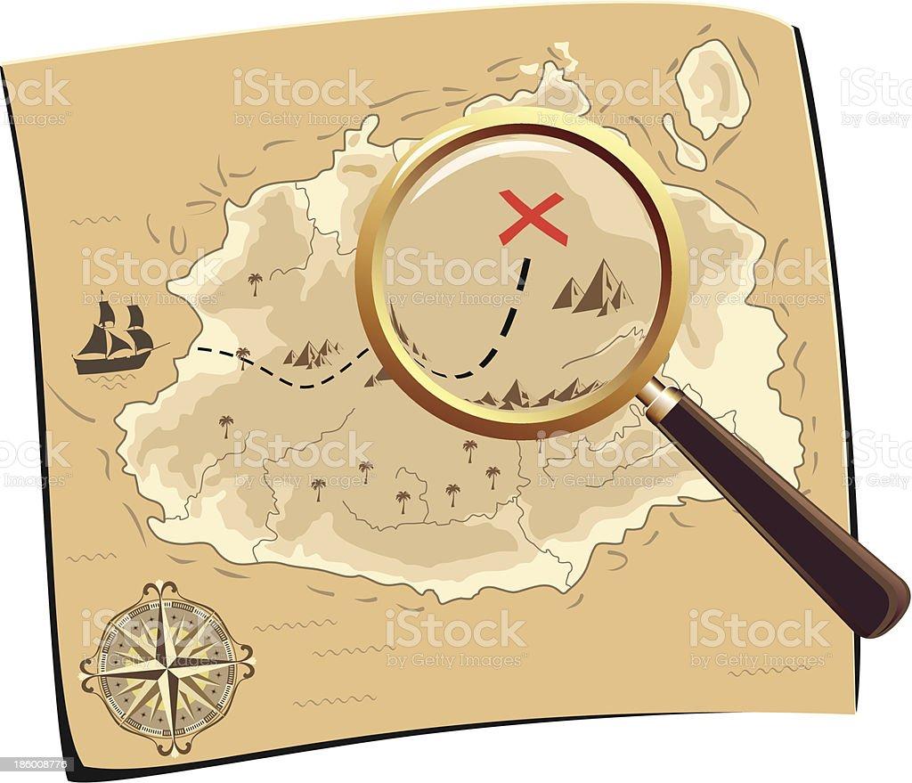 Pirates Treasure Map vector art illustration