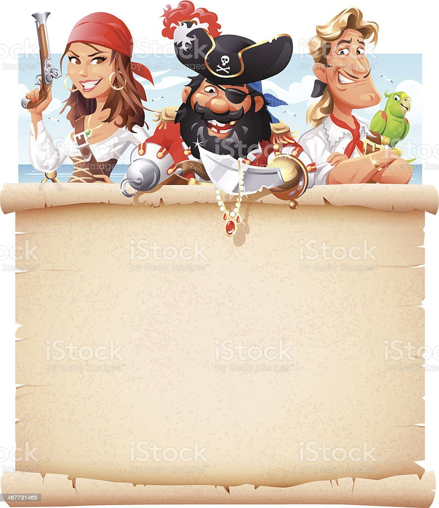 Pirates With Letter of Marque vector art illustration