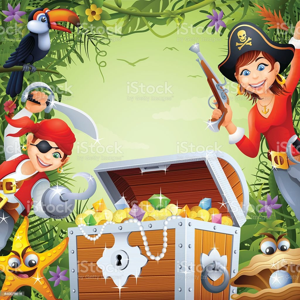 Pirates with Treasure in the Jungle vector art illustration