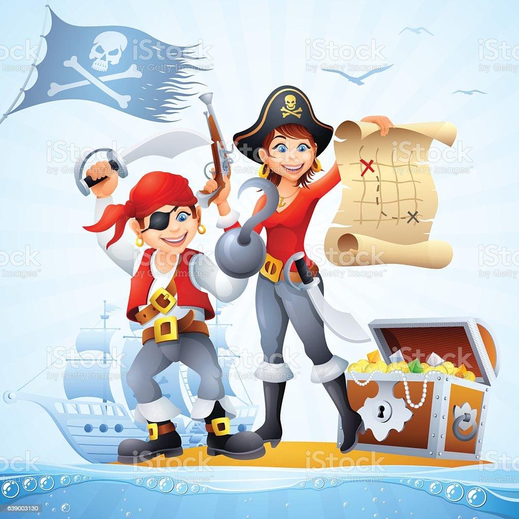Pirates with Treasure vector art illustration