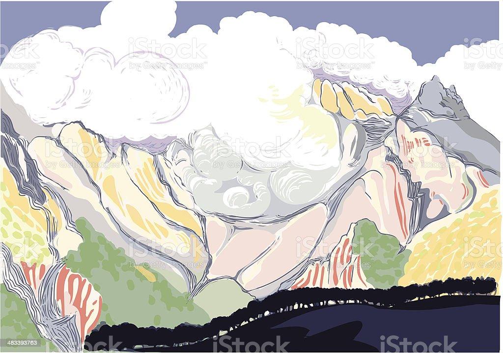 Pirineos, tormenta en la monta?a. vector art illustration