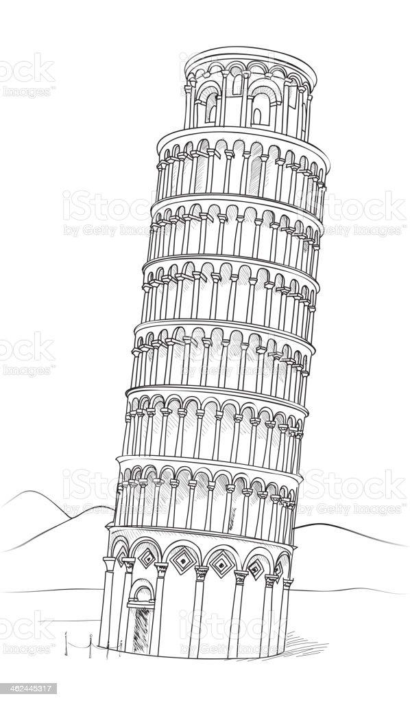 Pisa Tower. Italian Landmark. vector art illustration