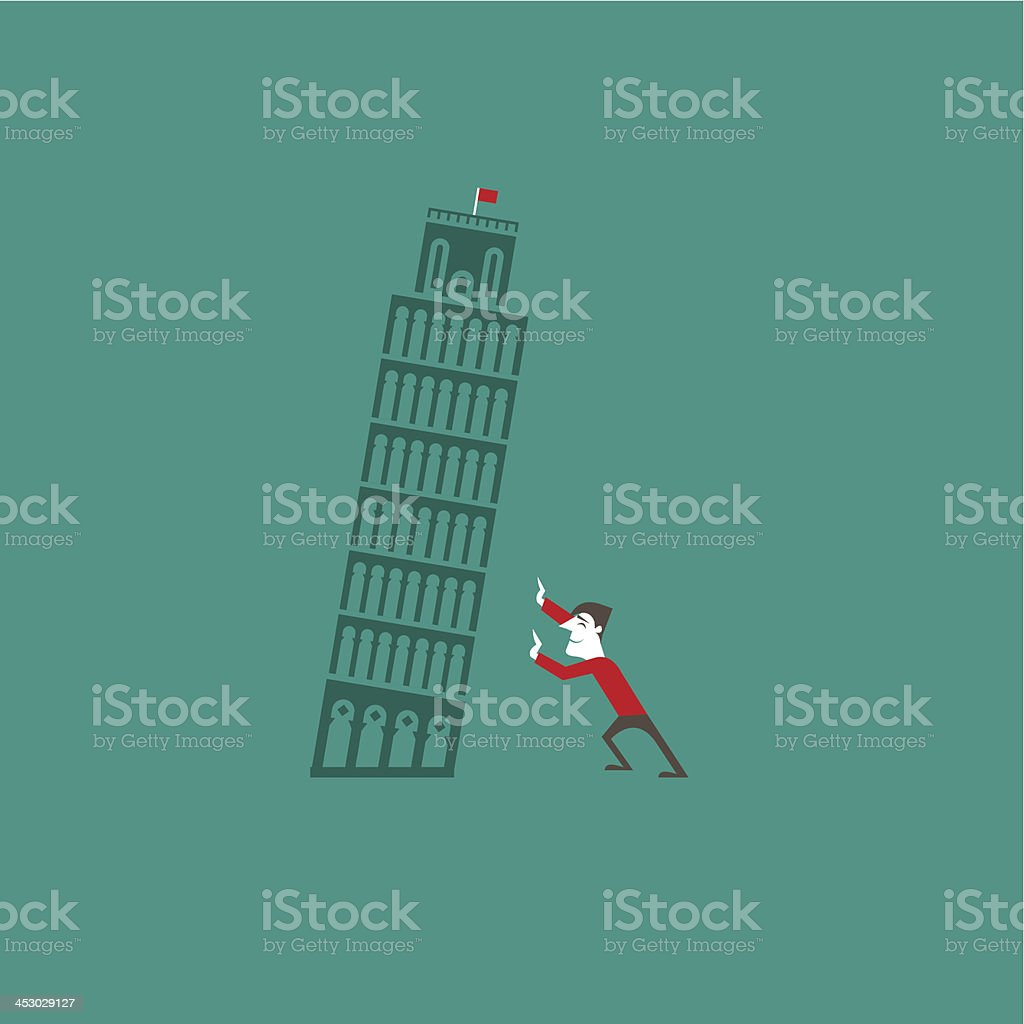 Pisa tower with a tourist royalty-free stock vector art