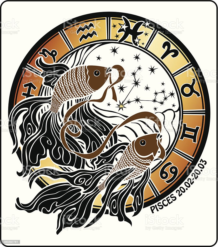 Pisces and the zodiac sign.Horoscope circle. Vector Illustration vector art illustration