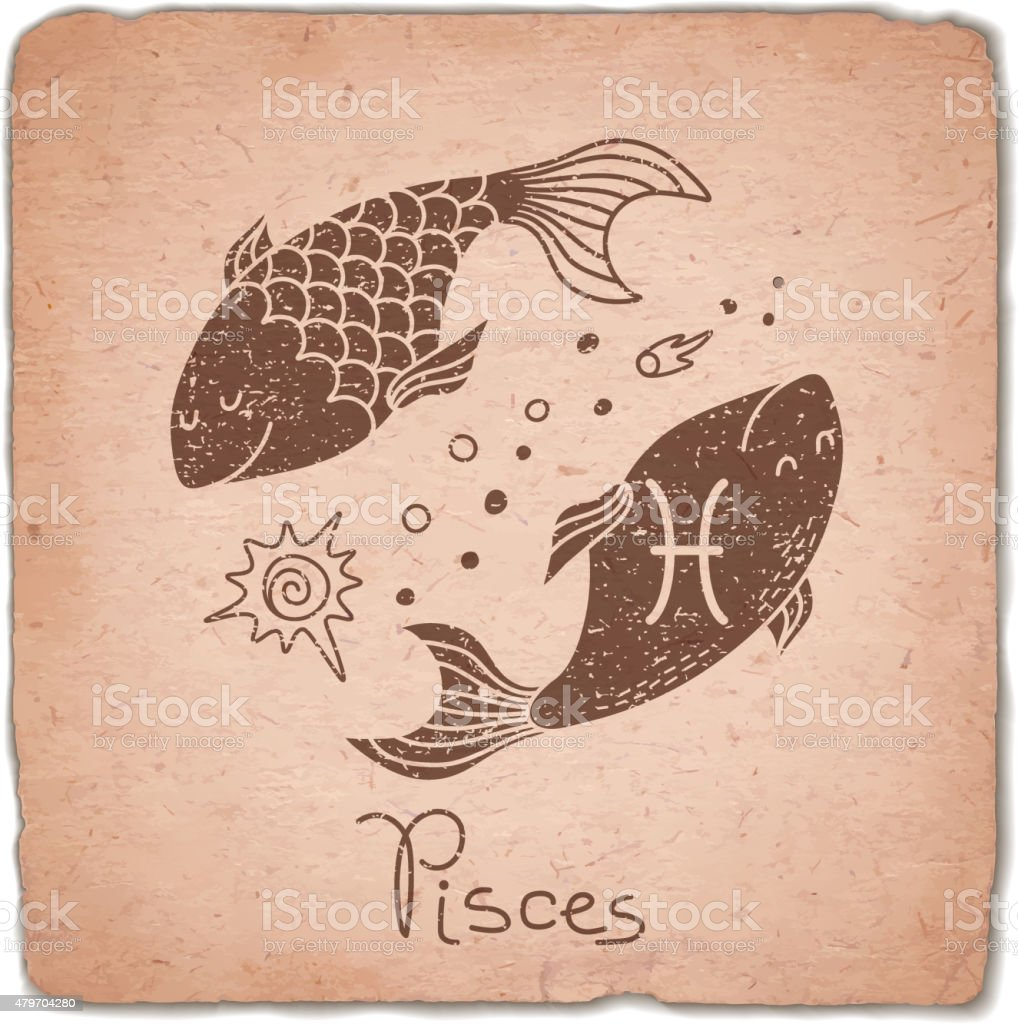 Pisces zodiac sign horoscope vintage card vector art illustration