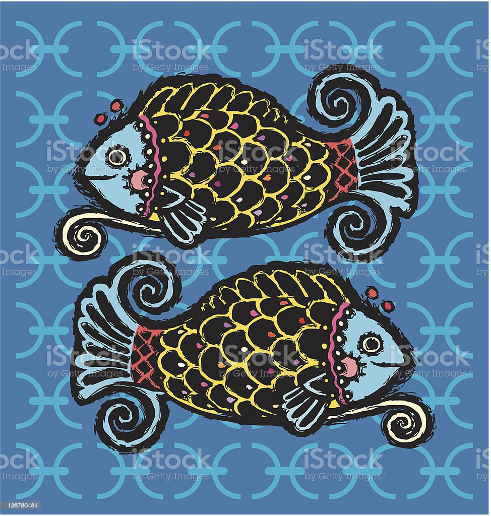Pisces  zodiac royalty-free stock vector art