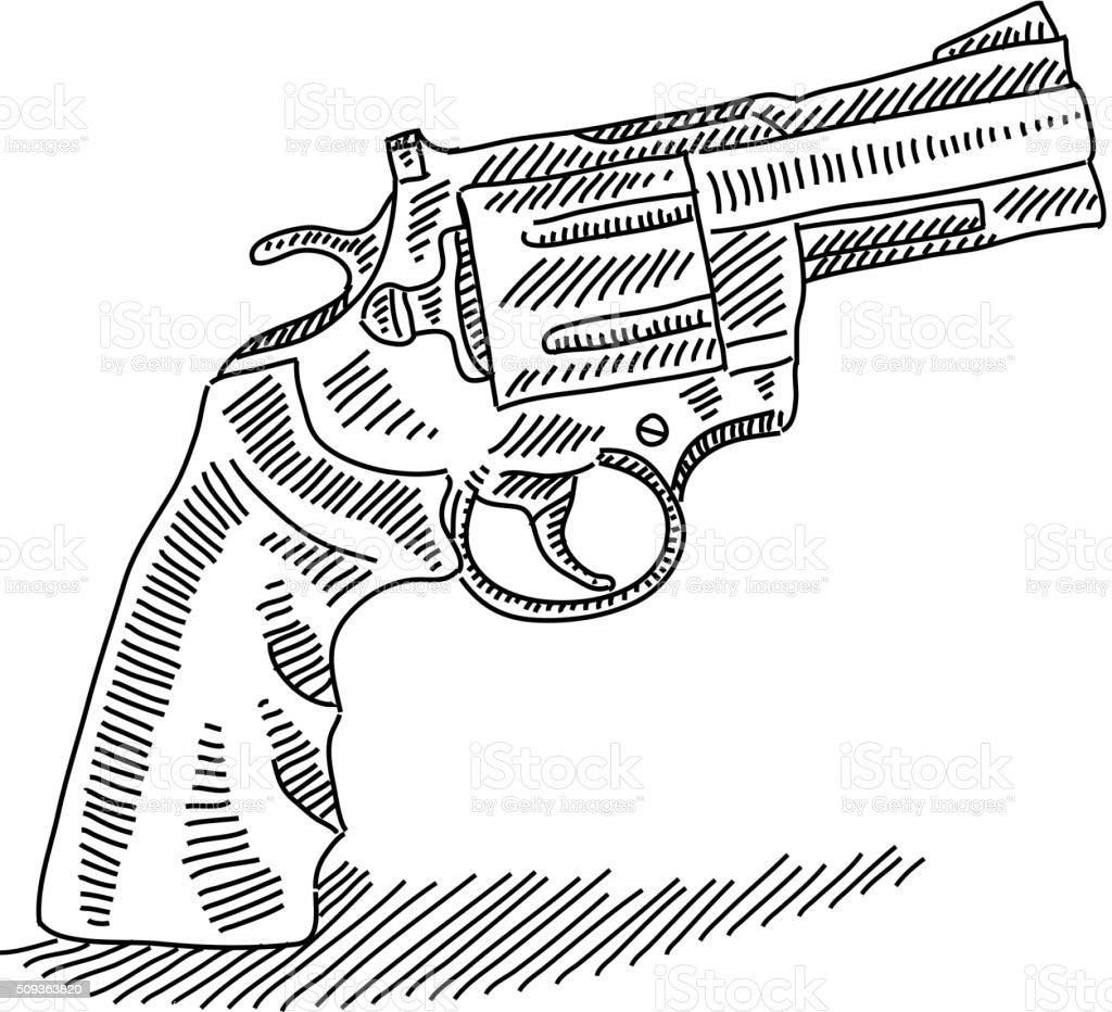 Pistol Drawing vector art illustration