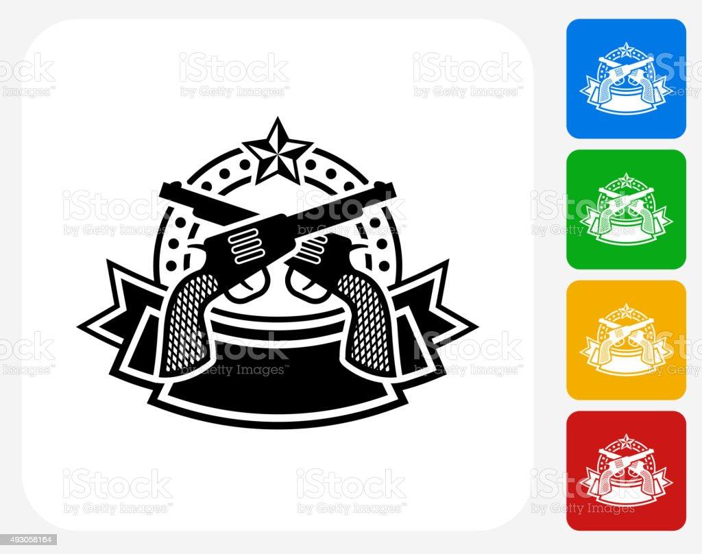 Pistol Emblem Icon Flat Graphic Design vector art illustration
