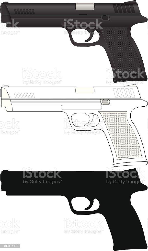 pistol set vector art illustration