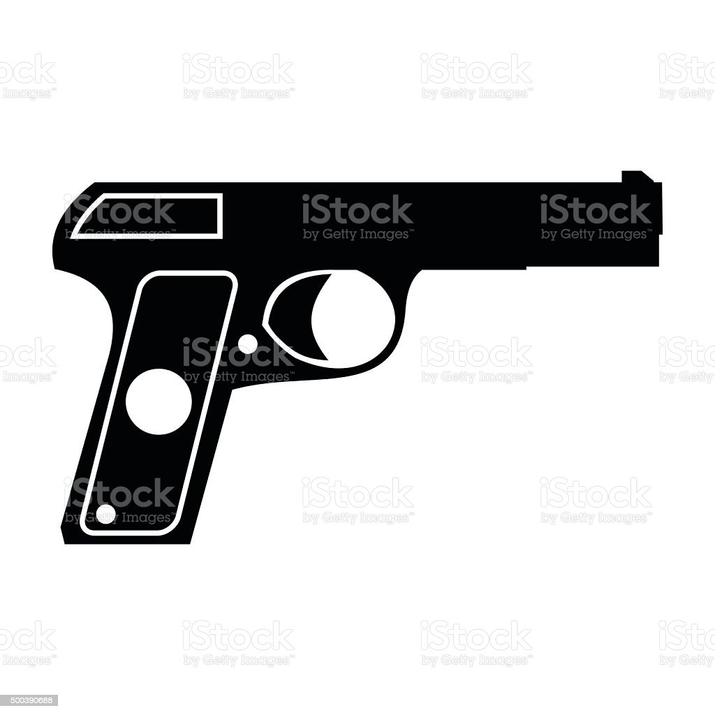 Pistol simple icon vector art illustration