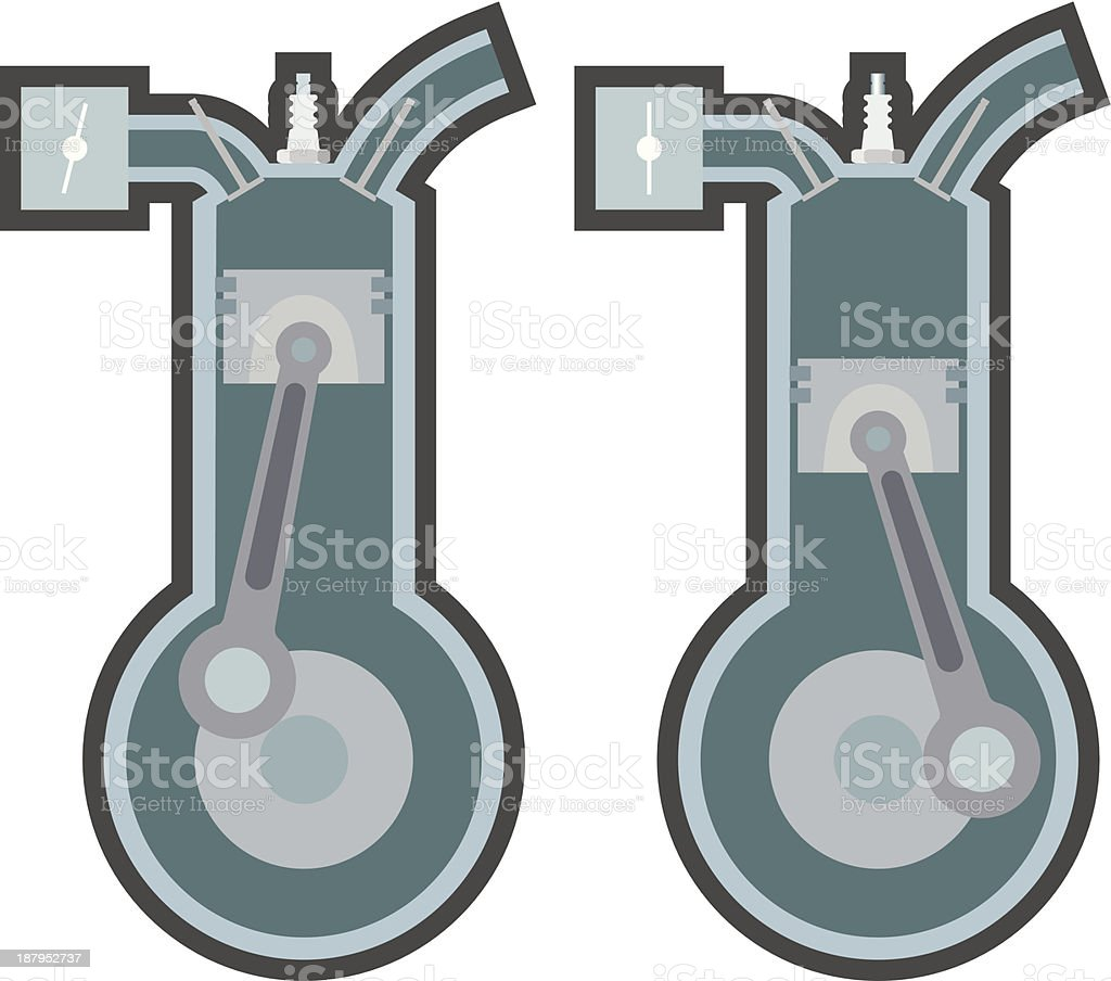 Pistons and cylinders stylised, internal combustion engine royalty-free stock vector art