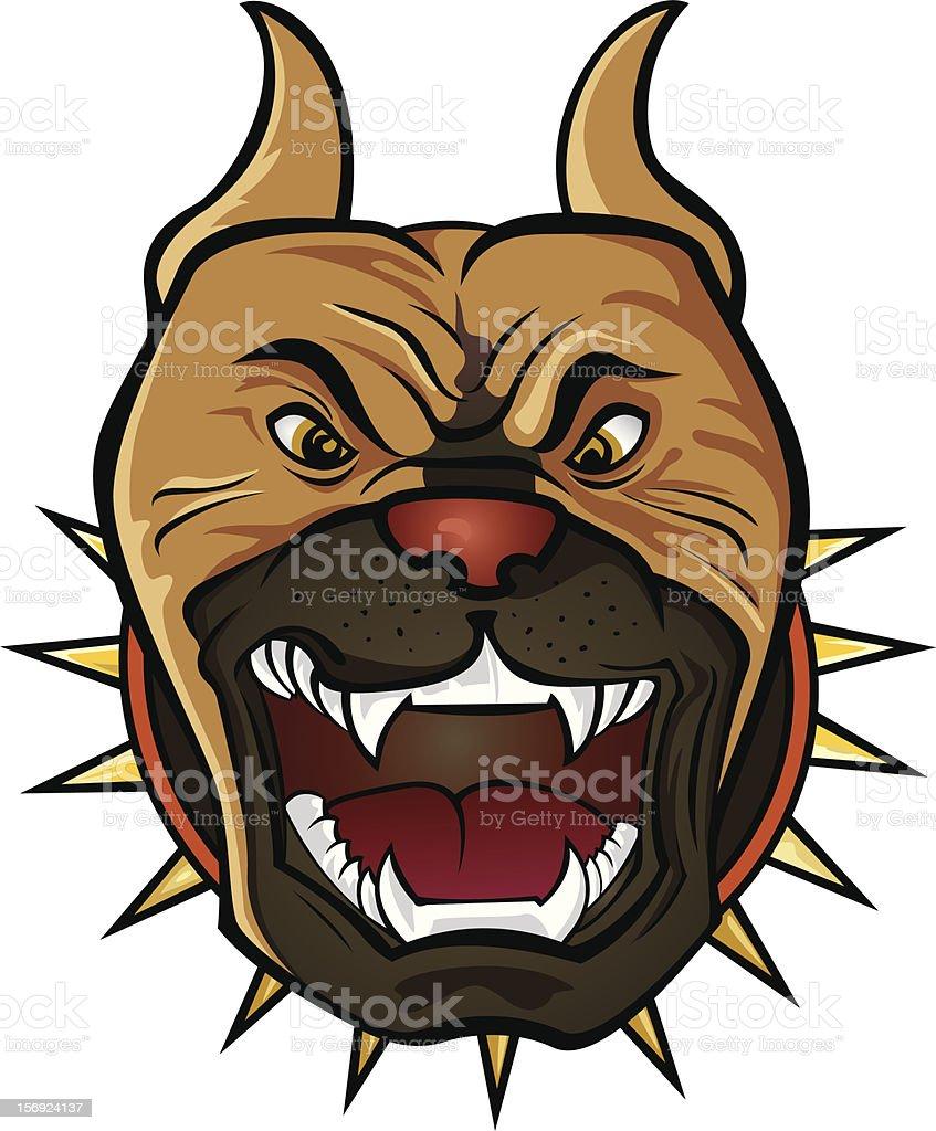 Pit bull Terrier head vector art illustration