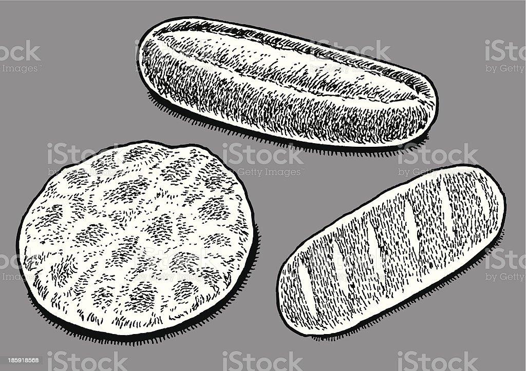 Pita, Hoagie Sub or French Bread vector art illustration