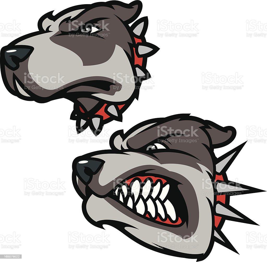Pitbulls vector art illustration