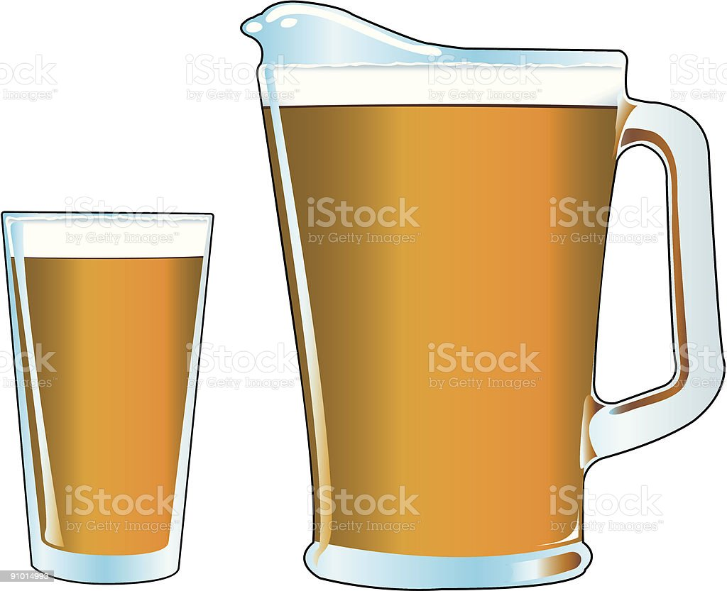 Pitcher and Pint glass of beer vector art illustration