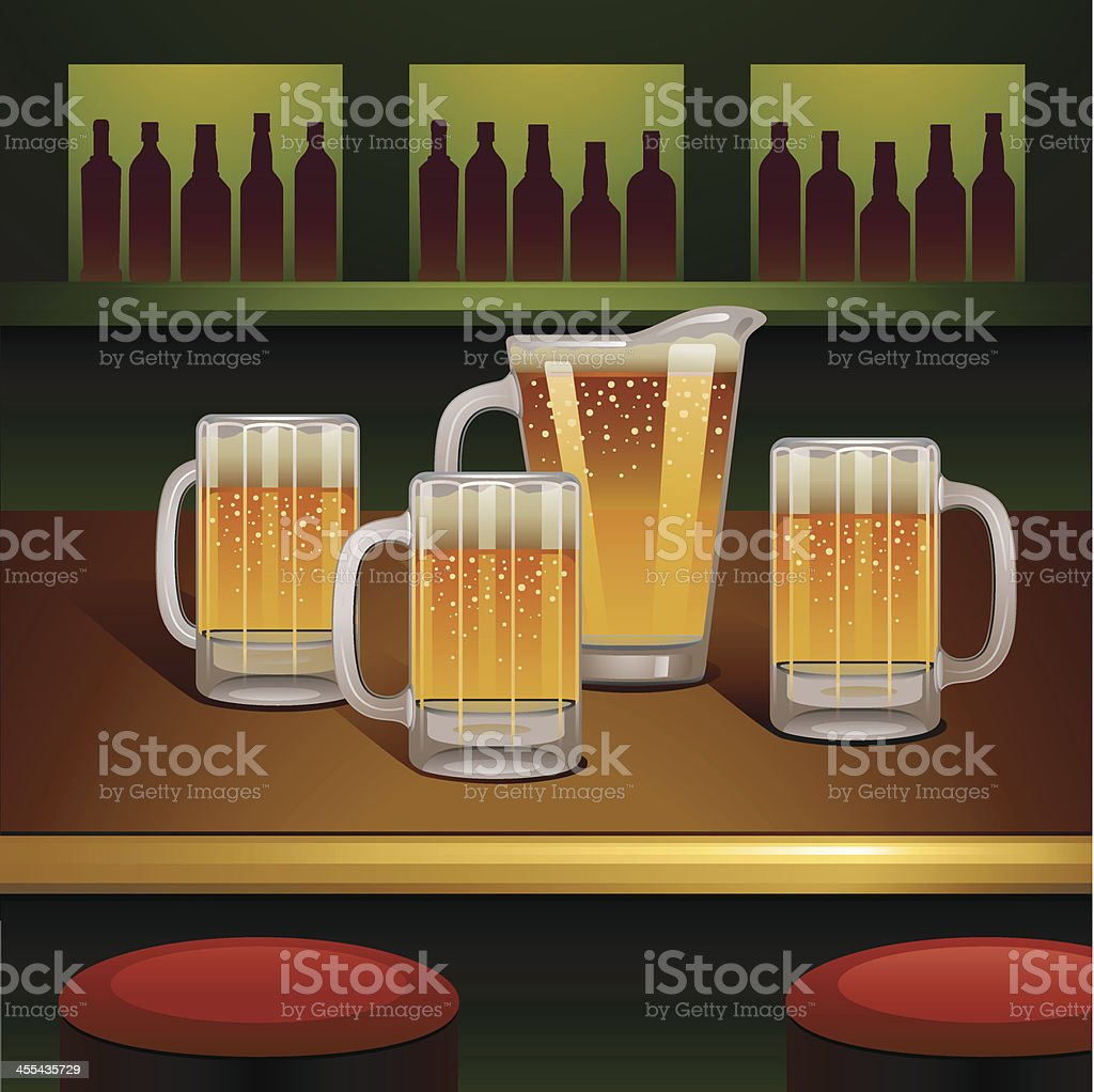 Pitcher of Beer vector art illustration