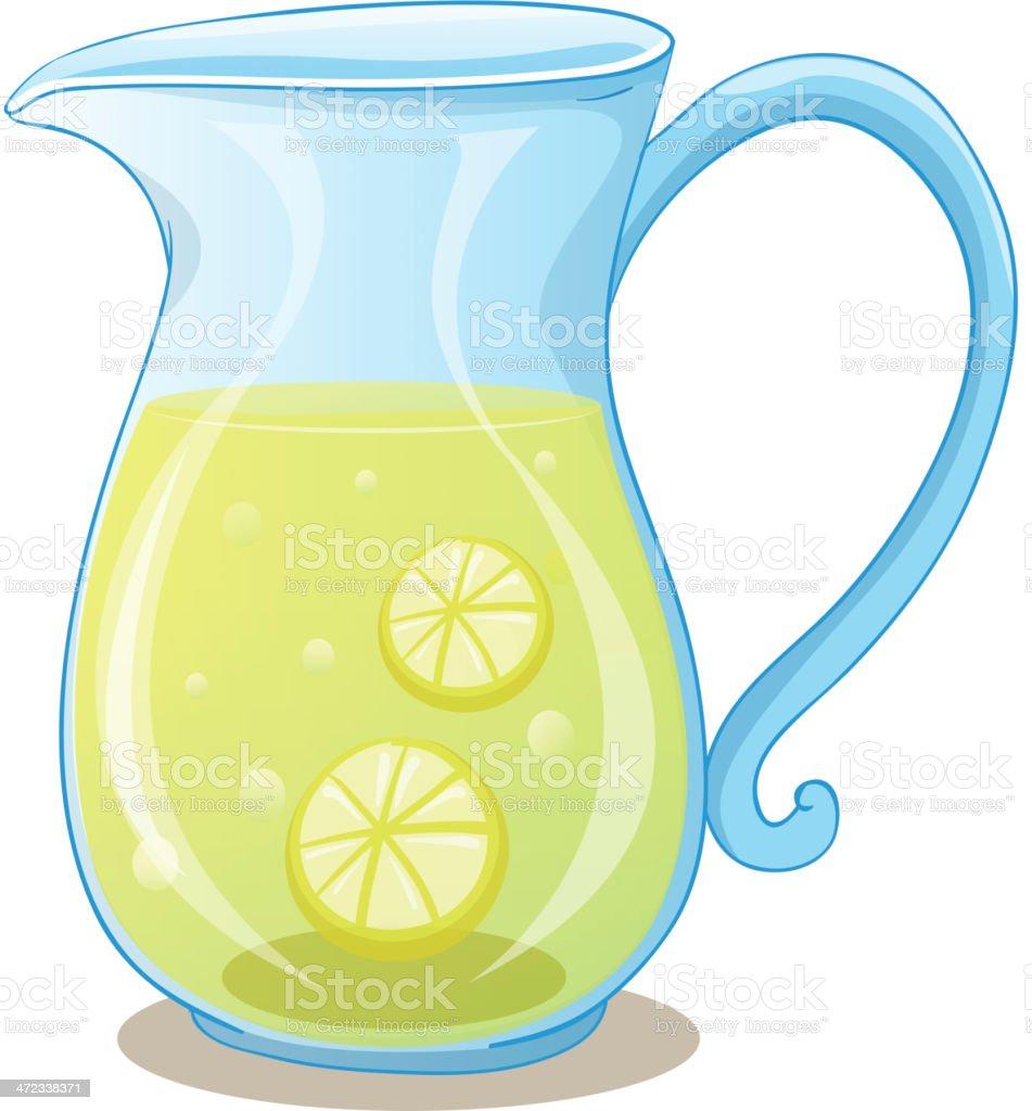 Pitcher of lemon juice vector art illustration