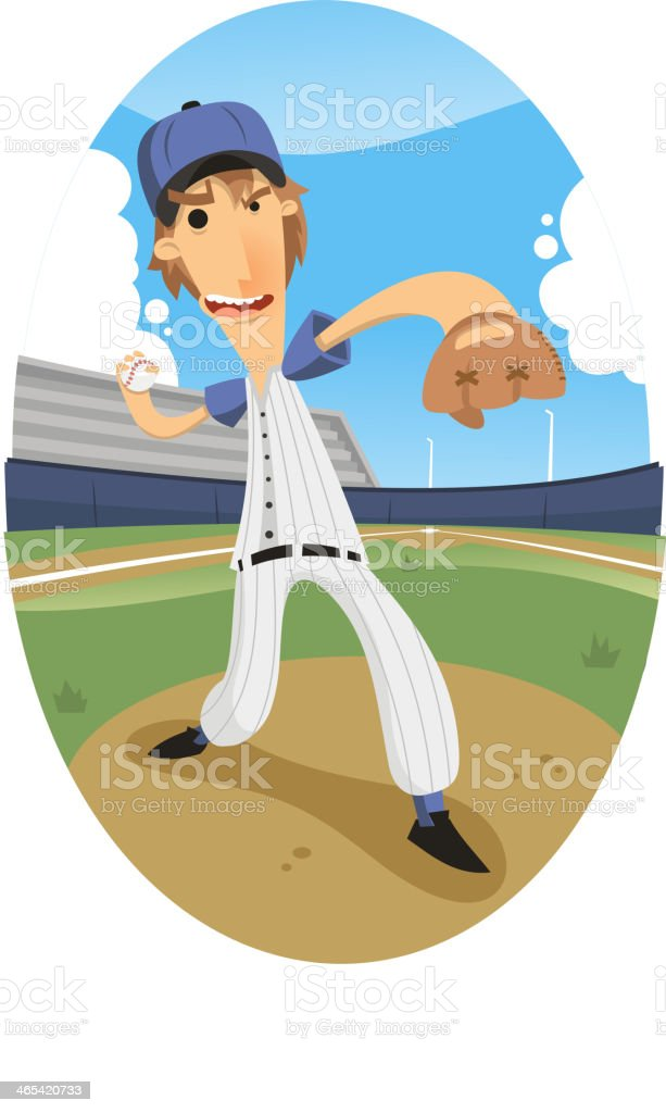 pitcher throwing a fastball at a baseball game royalty-free stock vector art