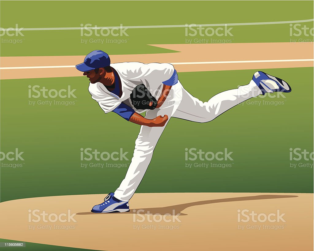Pitcher Throwing royalty-free stock vector art