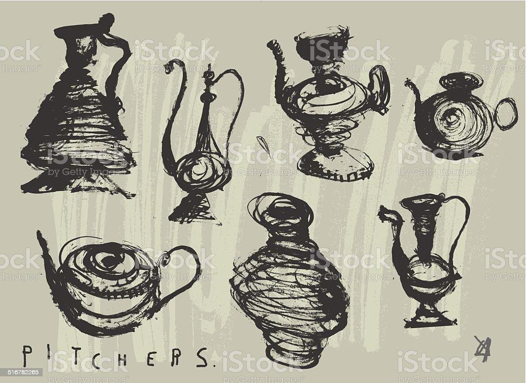 Pitchers vector art illustration