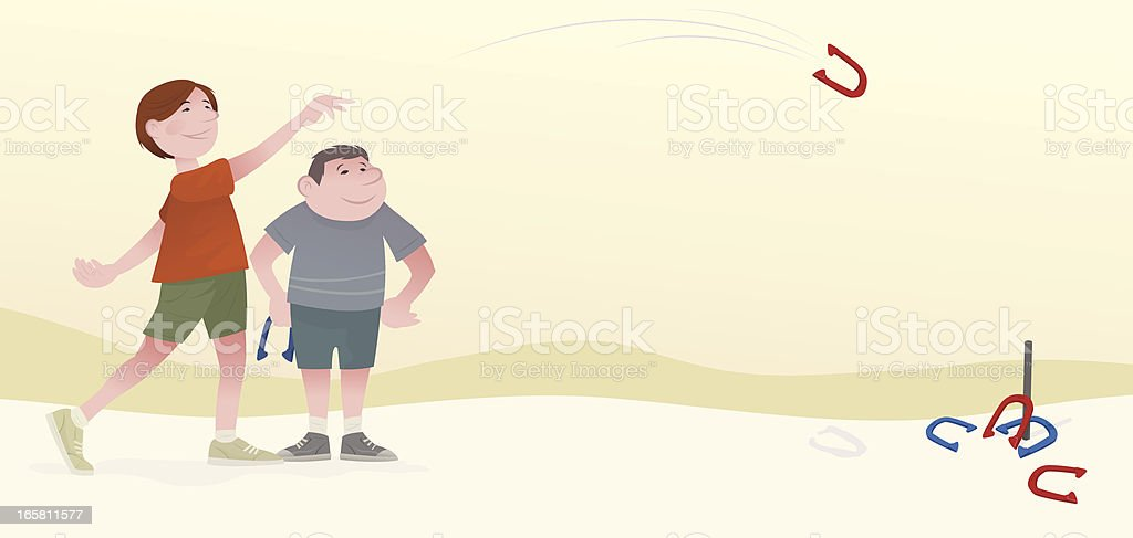 Pitching Horeshoes vector art illustration