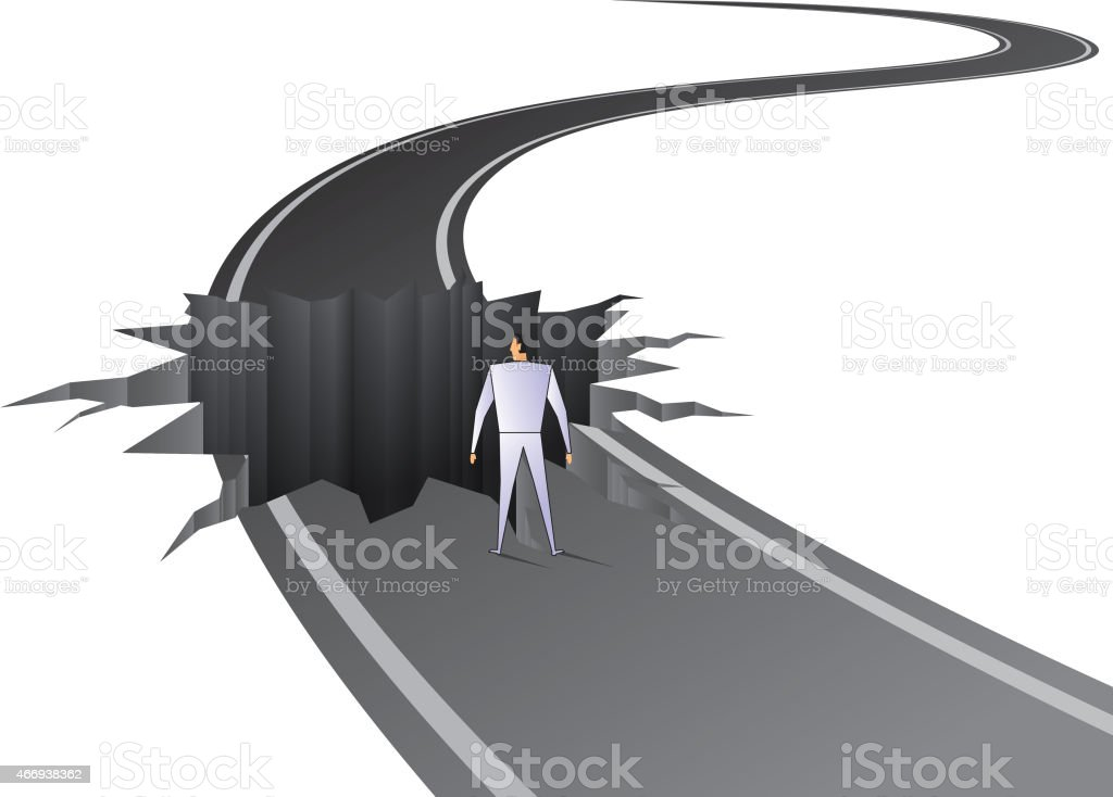 Pitfall on road vector art illustration