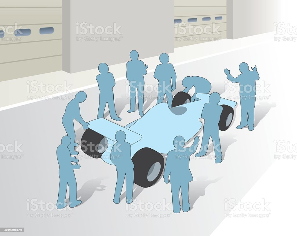 Pitstop, teamwork and co-operation vector art illustration