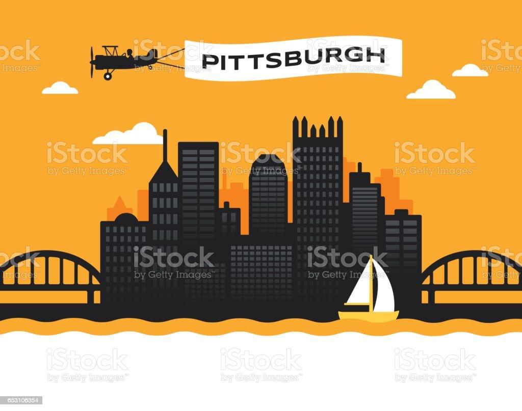 Pittsburgh Skyline vector art illustration